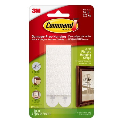 Command 4 Sets Large Sized Picture Hanging Strips White