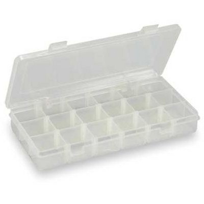"""WESTWARD 2HFR3 3 to 18 Adjustable Compartment Box, 5""""L x 9""""W x 1-3/8""""H"""