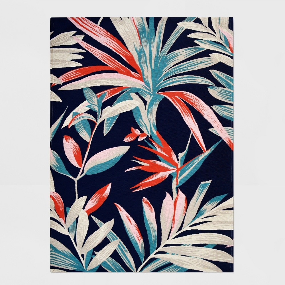 5' x 7' Jungle Tropical Outdoor Rug Navy/Coral - Threshold, Blue