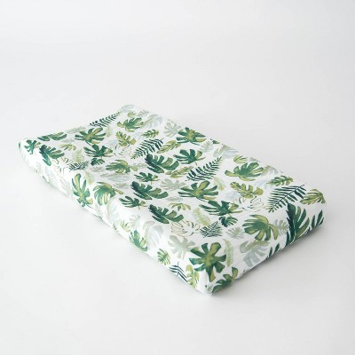 Little Unicorn Cotton Muslin Changing Pad Cover - Tropical Leaf
