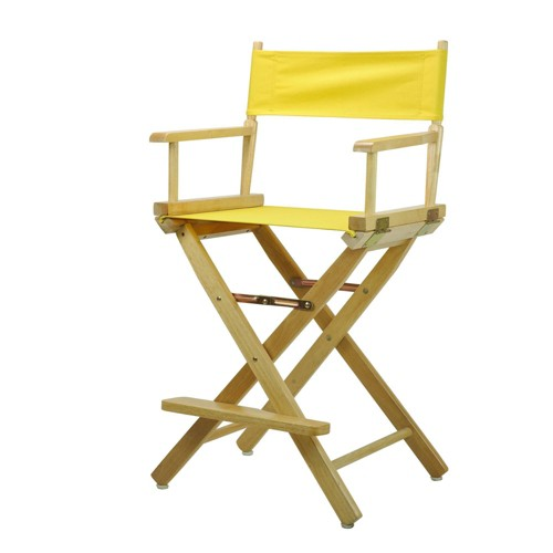Director's Chair Counter Height Canvas Yellow/Natural Flora Homes