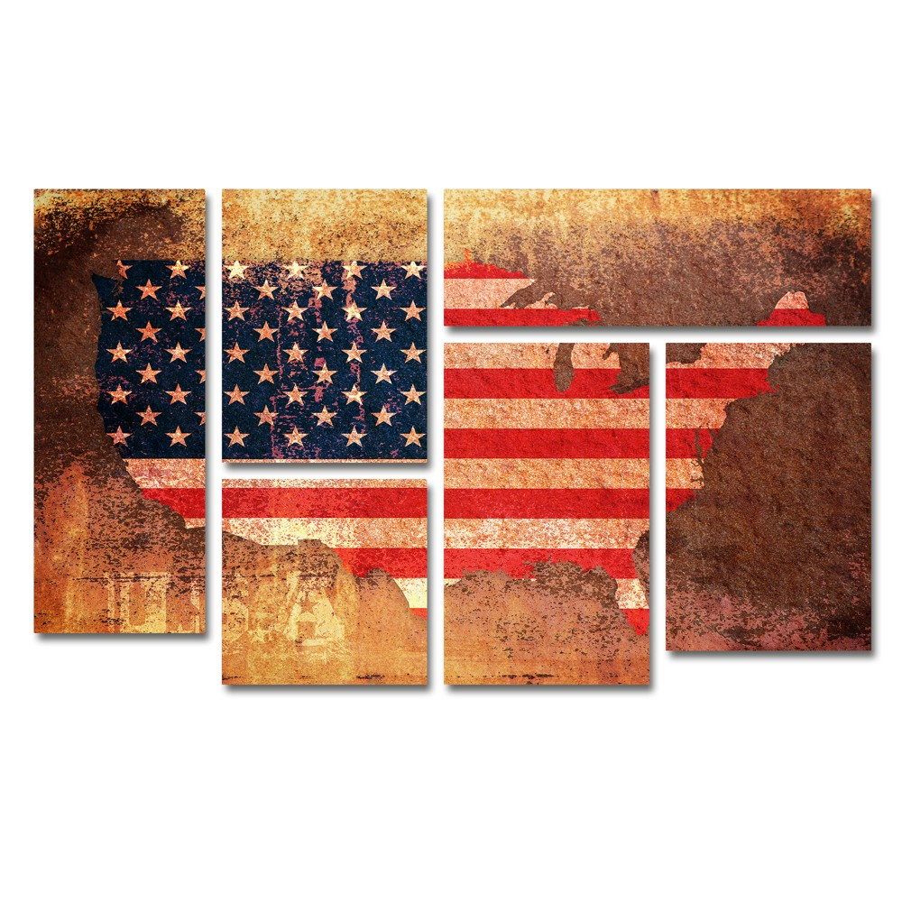 'us Flag Map' by Michael Tompsett Ready to Hang Multi Panel Art Set, Multi-Colored