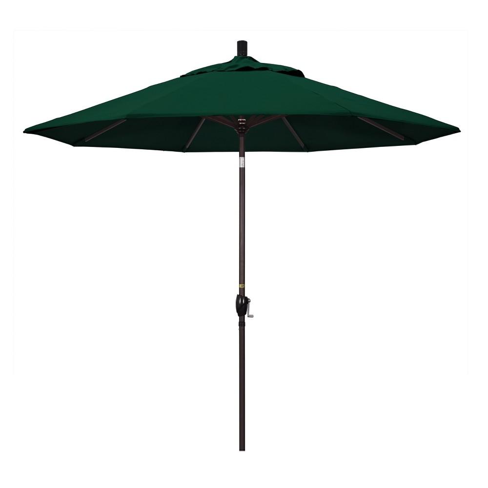 9' Aluminum Push Button Tilt Crank Patio Umbrella, Forest Green