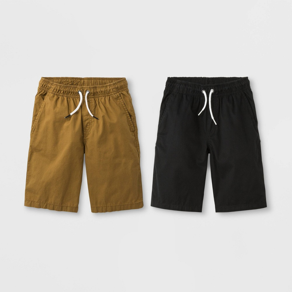Image of Boys' 2pk Woven Chino Pull-On Shorts - Cat & Jack Black/Brown M, Boy's, Size: Medium