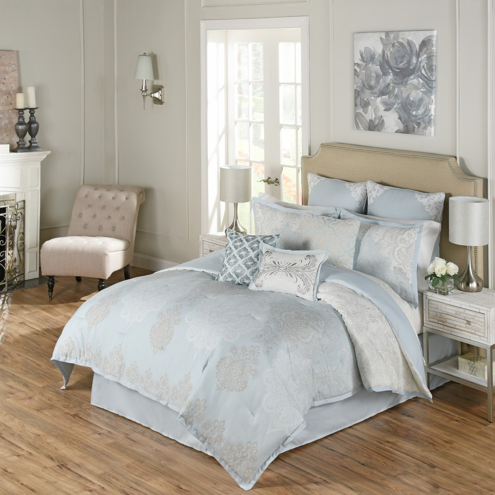 Image of 4pc King Damask Arlee Comforter Set Blue - Beautyrest