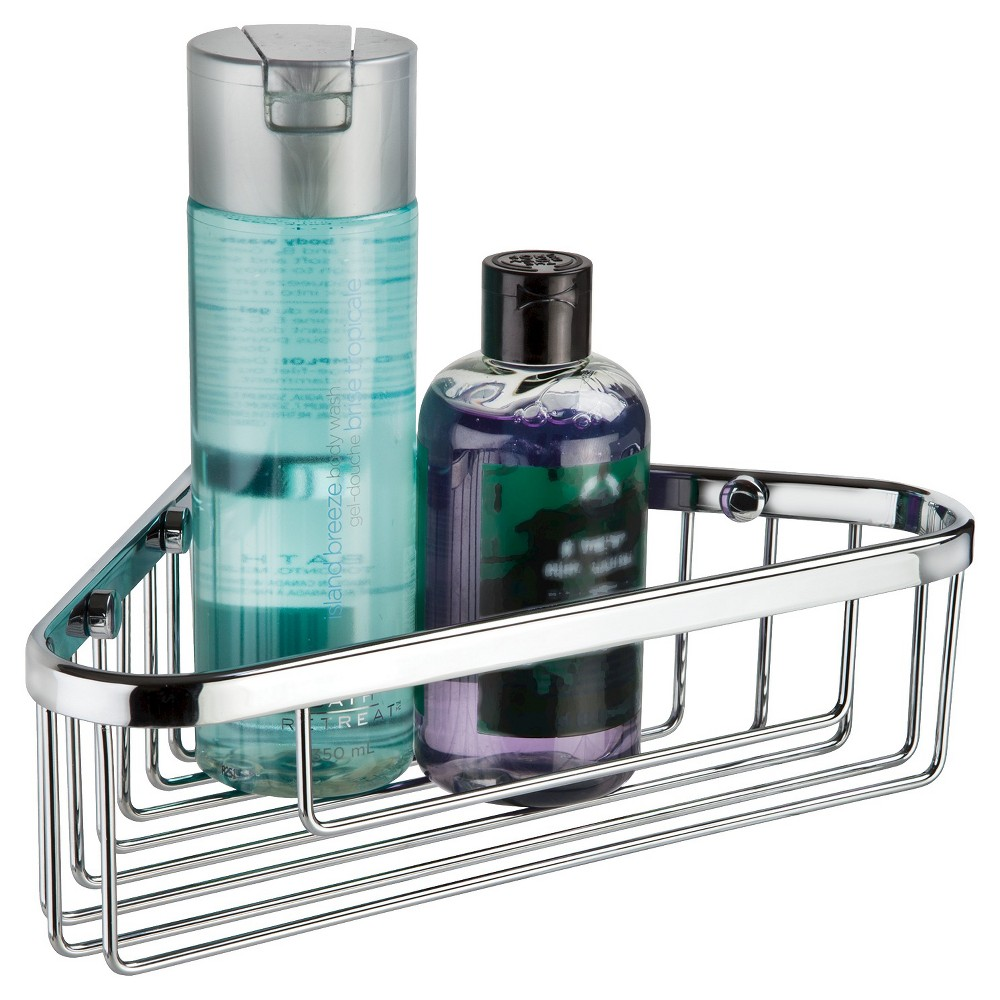 "Image of ""Bath Boutique 10"""" Corner Basket Chrome - Better Living Products, Silver"""