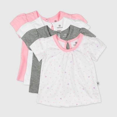 Honest Baby Baby Girls' 4pk Love Dot Organic Cotton Puff Sleeve T-Shirt - Pink 6-9M