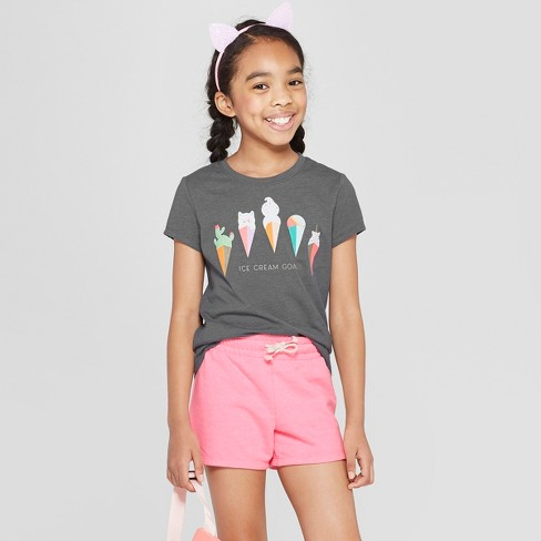 912ea2b7e21f77 Girls  Short Sleeve Ice Cream Printed T-Shirt - Cat   Jack™ Dark Gray