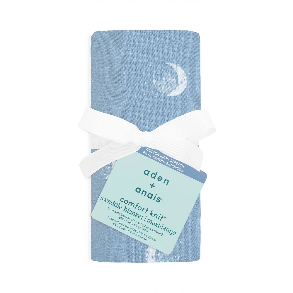 Image of aden + anais Comfort Knit Swaddle Blanket Blue Moon