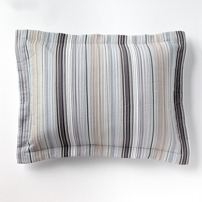 Lakeside Retro Striped Pillow Sham for Bedrooms, Furniture, and Around the Home