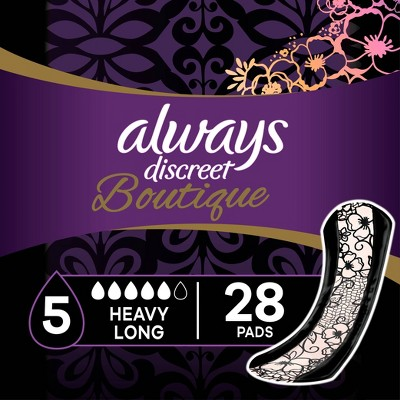 Always Discreet Boutique Incontinence and Postpartum Incontinence Pads - Heavy Absorbency - Long Length - 28ct