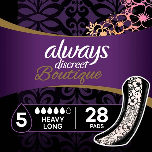 Always Discreet Boutique Incontinence and Postpartum Pads - Heavy Absorbency - Long Length - 28ct - image 1 of 4