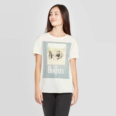 Women's The Beatles Short Sleeve Graphic T Shirt (Juniors')   White by Shirt (Juniors')