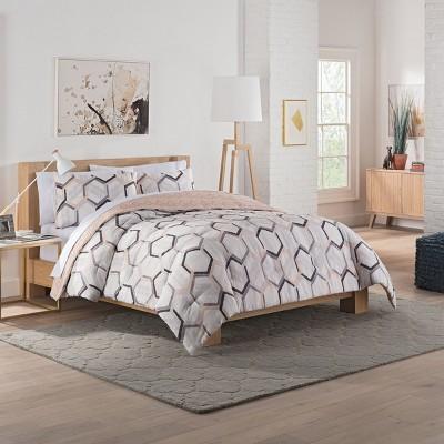 Gray Hexagonal Reversible Comforter Set (King)3pc - Vue