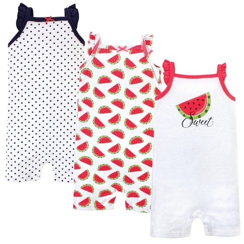 Hudson Baby Infant Girl Cotton Rompers 3pk, Watermelon - image 1 of 4