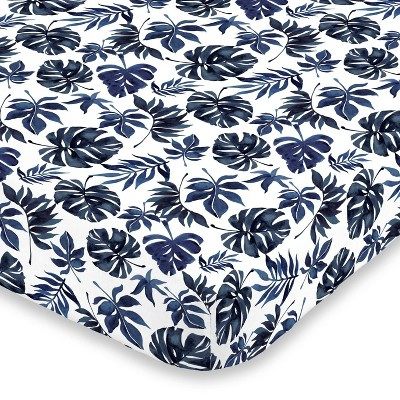 NoJo Super Soft Blue and White Palm Leaf Nursery Crib Fitted Sheet