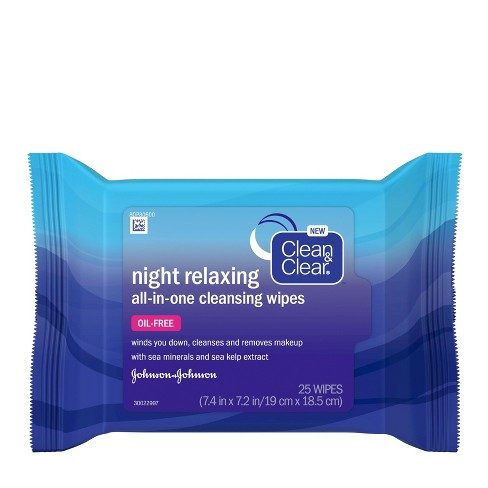 Clean & Clear Night Relaxing All-In-One Facial Cleansing Wipes - 25ct - image 1 of 4
