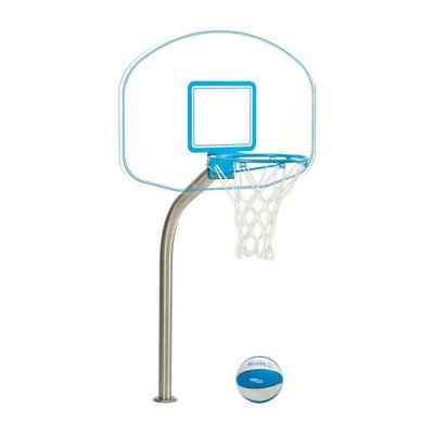Dunn-Rite DMB400 Clear Hoop Jr. Acrylic Backboard Pool Regulation Size Basketball Hoop Set with Dual Color Ball and 1.90 Inch Thick Post, Blue Trim