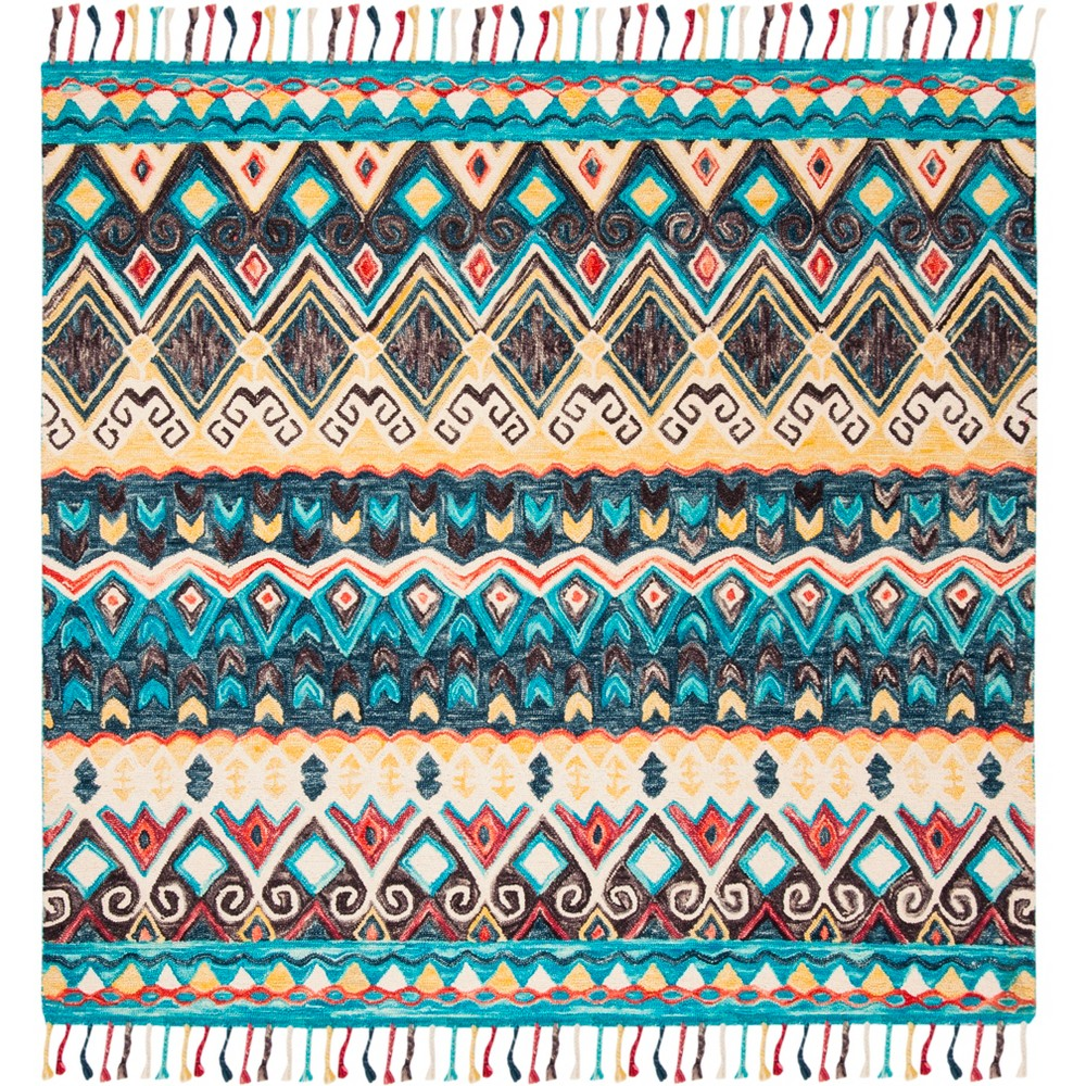 7'X7' Tribal Design Tufted Square Area Rug Blue/Red - Safavieh, Red Blue
