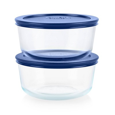 Pyrex 4pc 4 Cup Round Glass Food Storage Value Pack - Navy
