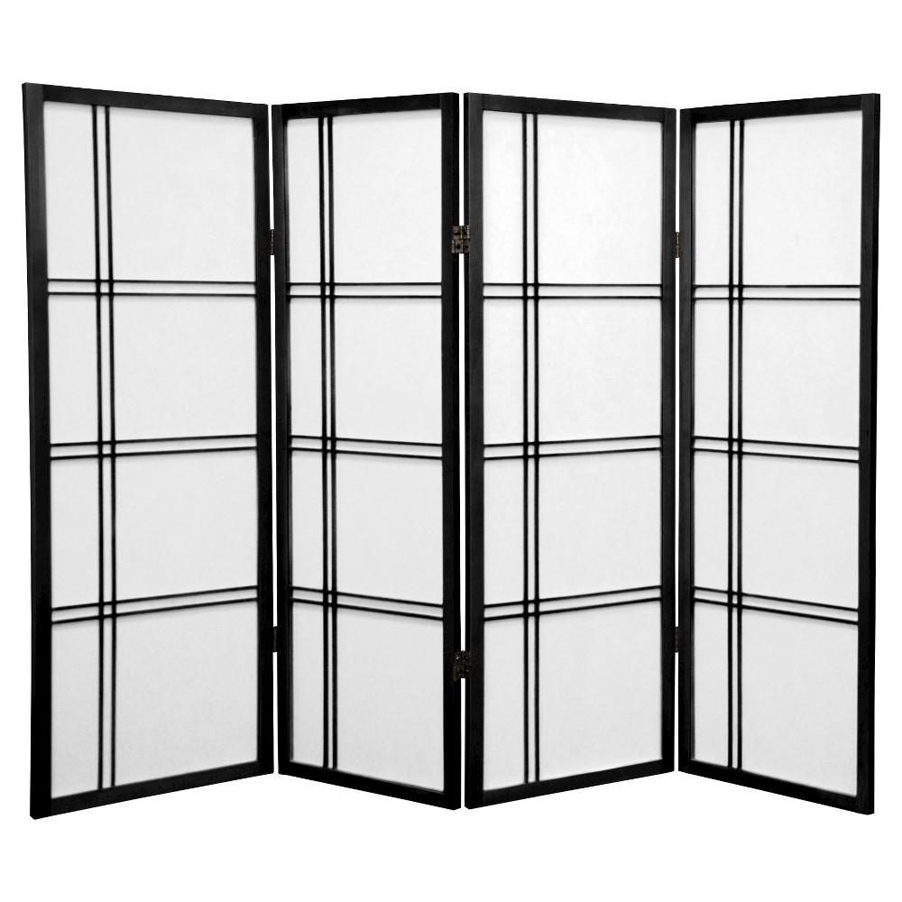 Image of 4 ft. Tall Double Cross Shoji Screen - Black (4 Panels) - Oriental Furniture