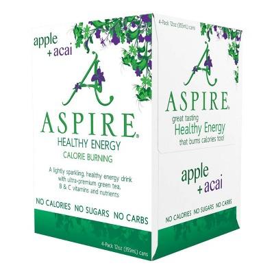 Aspire Healthy Energy Apple + Acai - 4pk/12oz Cans