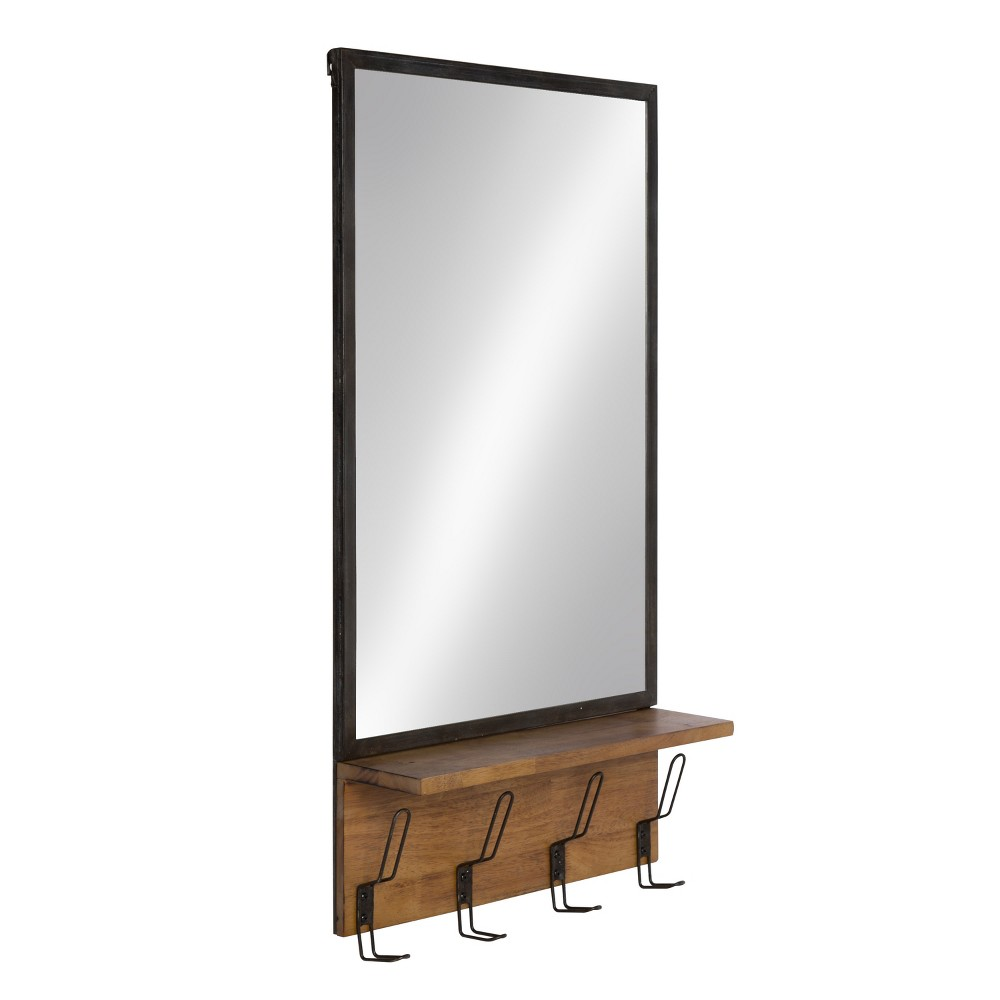 "Image of ""Kate & Laurel 20""""x36.8"""" Coburn Distressed Metal Decorative Wall Mirror with Wood Shelf and Hooks Black"""