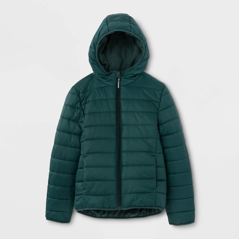 Kids' Lightweight Puffer Jacket - Cat & Jack Green M, Kids Unisex, Size: Medium