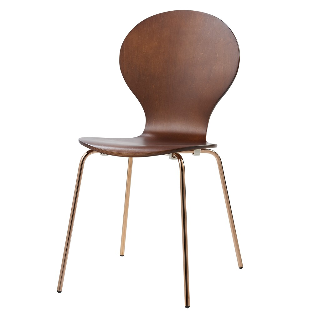 Image of Set of 2 Contorno Bentwood Chairs Walnut/Rose Gold - Versanora