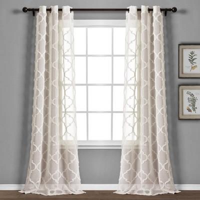 "Set of 2 38""x84"" Avon Trellis Grommet Sheer Window Curtain Panels Beige - Lush Décor"