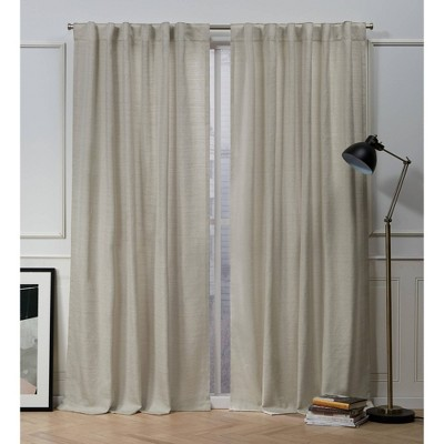 "96""x54"" Mellow Slub Back Tab Light Filtering Window Curtain Panels Linen - Nicole Miller"