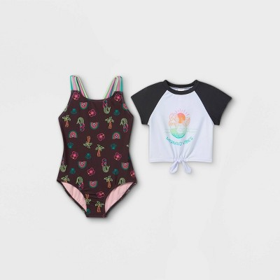 Girls' Tie-Front Short Sleeve One Piece Swimsuit Set - Cat & Jack™ Black