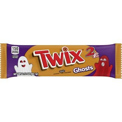 Twix Halloween Caramel Ghosts Chocolate Cookie Candy Bars - 2.12oz