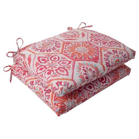 Outdoor 2-Piece Square Seat Cushion Set - Pink/Orange Medallion - image 1 of 1