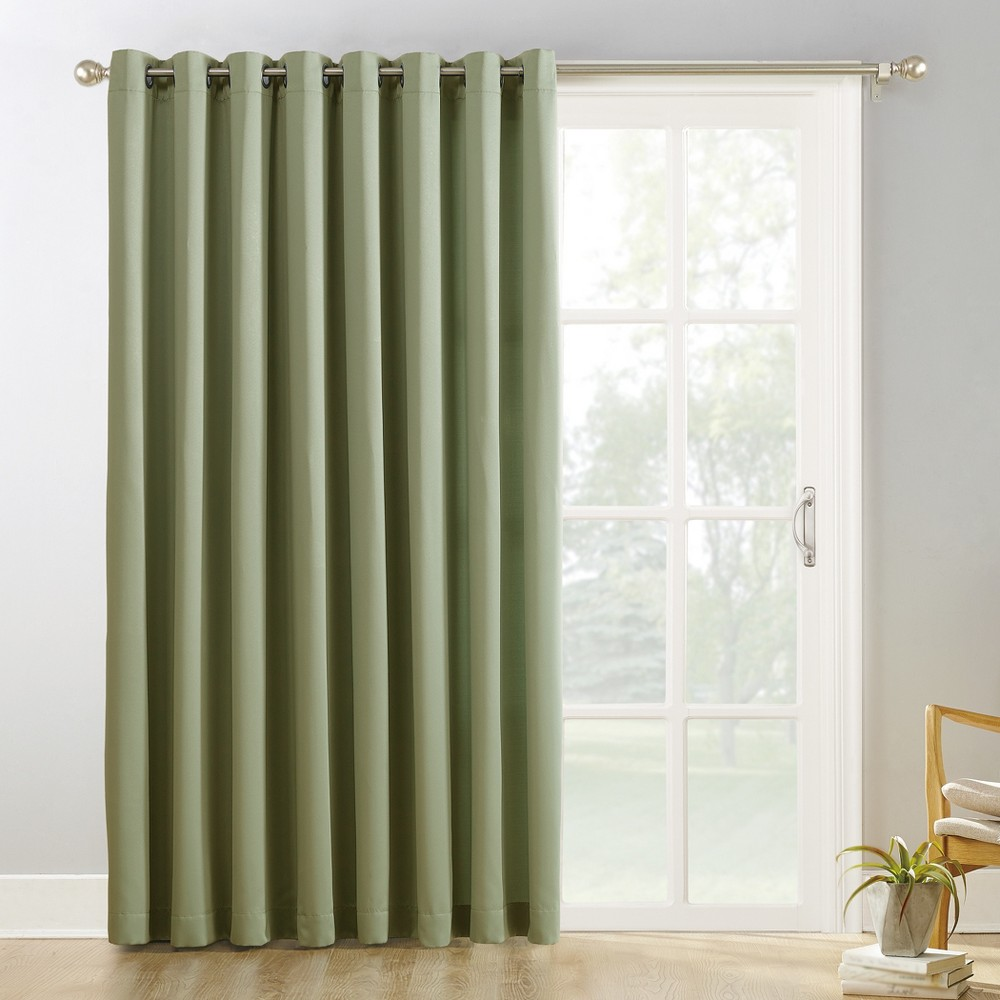 "Image of ""100""""x84"""" Kenneth Extra Wide Blackout Sliding Patio Door Curtain Panel Green - Sun Zero"""