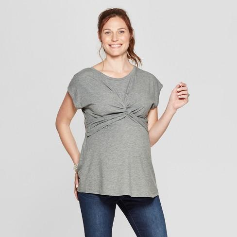 1bfa526c46e4a Maternity Short Sleeve Twist Front Dolman Sleeve T-Shirt - Isabel Maternity  by Ingrid   Isabel™ Heather Gray