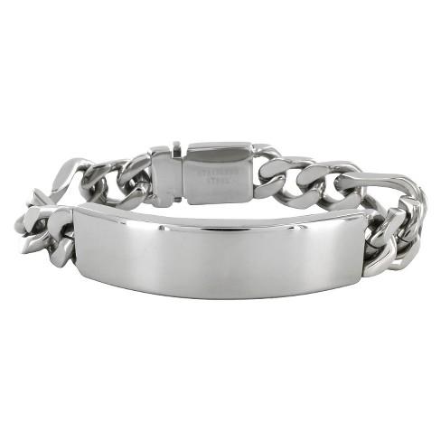Men S Crucible Stainless Steel Figaro Chain Id Bracelet