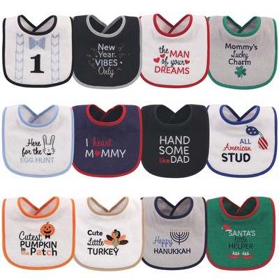 Hudson Baby Infant Boy Cotton Terry Drooler Bibs with Fiber Filling 12pk, Holiday Boy Bow Tie, One Size