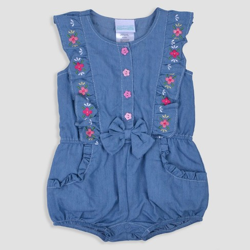 Baby Girls' Chambray Romper Nate & Annee™ Blue - image 1 of 1