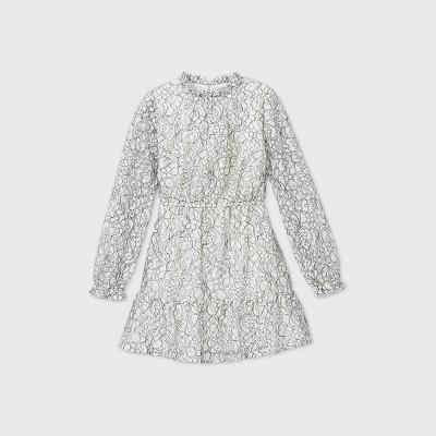 Girls' Mock Neck Long Sleeve Dress - art class™ White