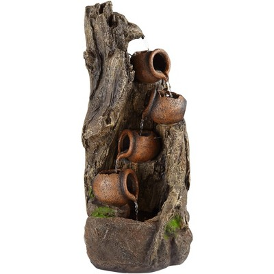 """John Timberland Rustic Outdoor Floor Water Fountain with Light LED 39"""" High Log and Pots Cascading for Yard Garden Patio Deck Home"""