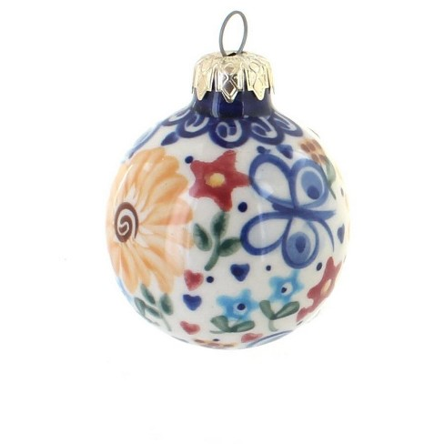 Blue Rose Polish Pottery Butterfly Small Christmas Ball - image 1 of 1