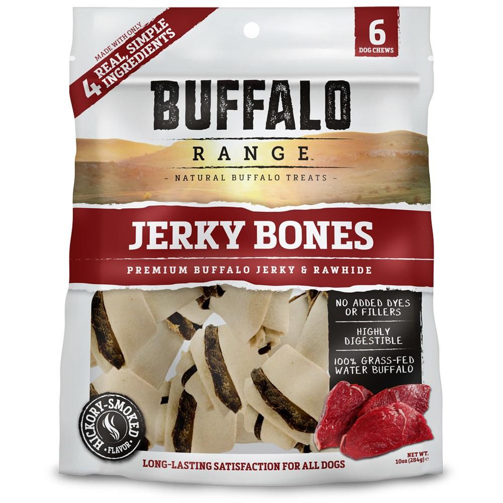 Buffalo Range Natural Jerky Bones Rawhide Chews For Dogs 6ct