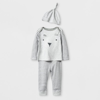 Baby Boys' 3pc Bear Top and Bottom Set with Hat - Cloud Island™ Gray 0-3M