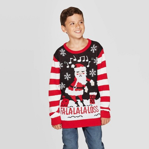 Well Worn Boys' Flossing Santa Ugly Christmas Sweater - Black - image 1 of 3