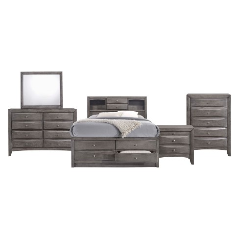 Madison Queen Storage 5pc Bedroom Set Gray - Picket House Furnishings