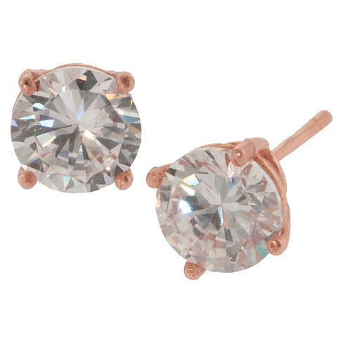 Rose Gold over Sterling Silver Round Cubic Zirconia Stud Earrings (6mm) - image 1 of 1