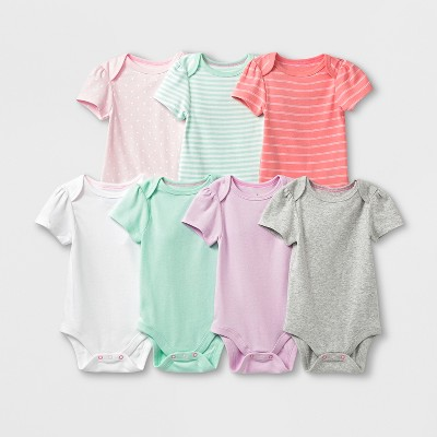 Baby Girls' 7pk Bodysuits - Cloud Island™ 0-3M