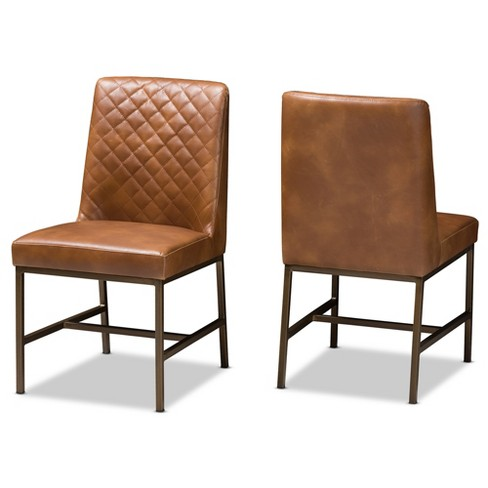 Set of 2 Baxton Studio Margaux Modern Luxe Faux Leather Upholstered Dining Chair Brown - image 1 of 4