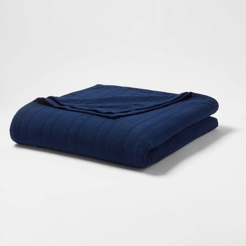 Textured Stripe 100% Cotton Bed Blanket - Threshold™ - image 1 of 3